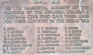 Swansea RFC old WW1 plaque