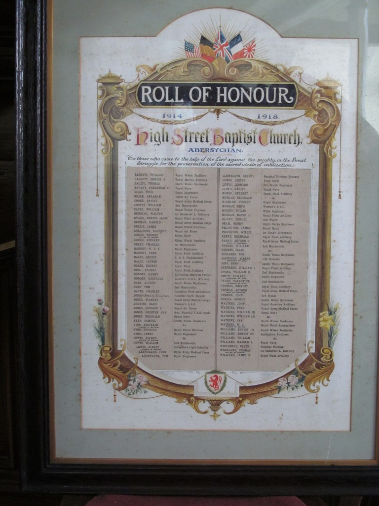Abersychan - High Street English Baptist WW1 Roll of Honour (2)